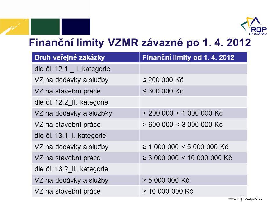 Finanční limity VZMR závazné po 1. 4. 2012 www.rr-jihozapad.cz Druh veřejné zakázkyFinanční limity od 1. 4. 2012 dle čl. 12.1 _ I. kategorie VZ na dod