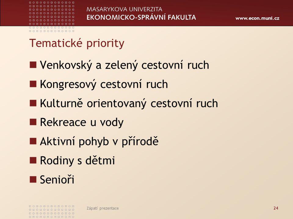 www.econ.muni.cz Tematické priority Venkovský a zelený cestovní ruch Kongresový cestovní ruch Kulturně orientovaný cestovní ruch Rekreace u vody Aktiv