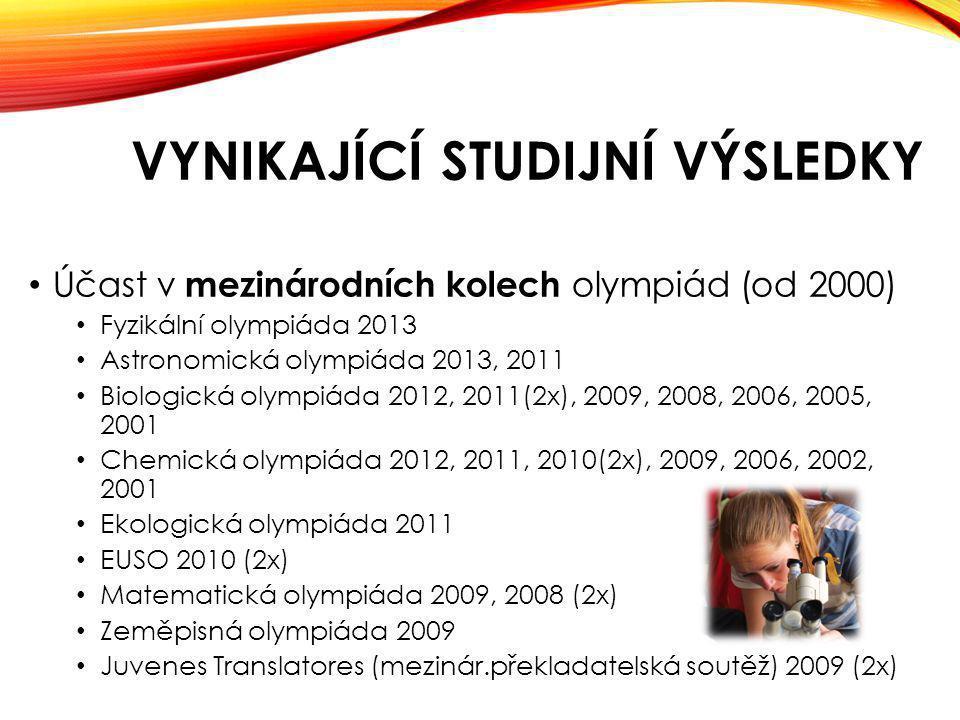 VYNIKAJÍCÍ STUDIJNÍ VÝSLEDKY Účast v mezinárodních kolech olympiád (od 2000) Fyzikální olympiáda 2013 Astronomická olympiáda 2013, 2011 Biologická olympiáda 2012, 2011(2x), 2009, 2008, 2006, 2005, 2001 Chemická olympiáda 2012, 2011, 2010(2x), 2009, 2006, 2002, 2001 Ekologická olympiáda 2011 EUSO 2010 (2x) Matematická olympiáda 2009, 2008 (2x) Zeměpisná olympiáda 2009 Juvenes Translatores (mezinár.překladatelská soutěž) 2009 (2x)