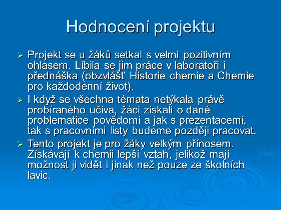 Hodnocení projektu  Projekt se u žáků setkal s velmi pozitivním ohlasem.