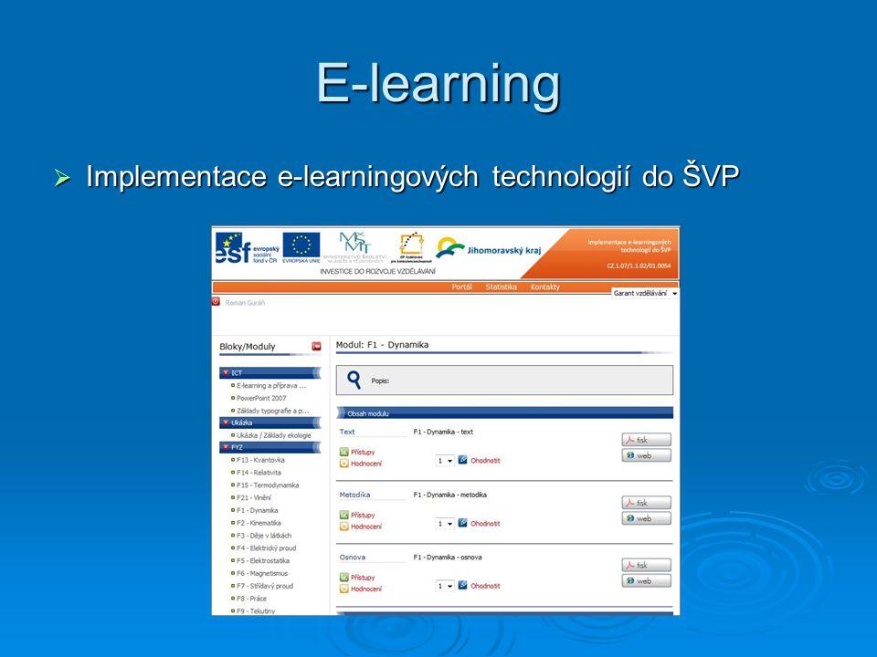 E-learning  Implementace e-learningových technologií do výuky v chemických a biologických laboratoří v chemických a biologických laboratoří