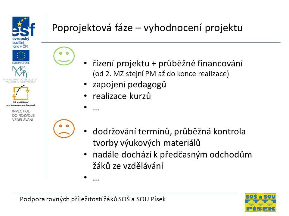 Podpora rovných příležitostí žáků SOŠ a SOU Písek Poprojektová fáze – vyhodnocení projektu řízení projektu + průběžné financování (od 2.