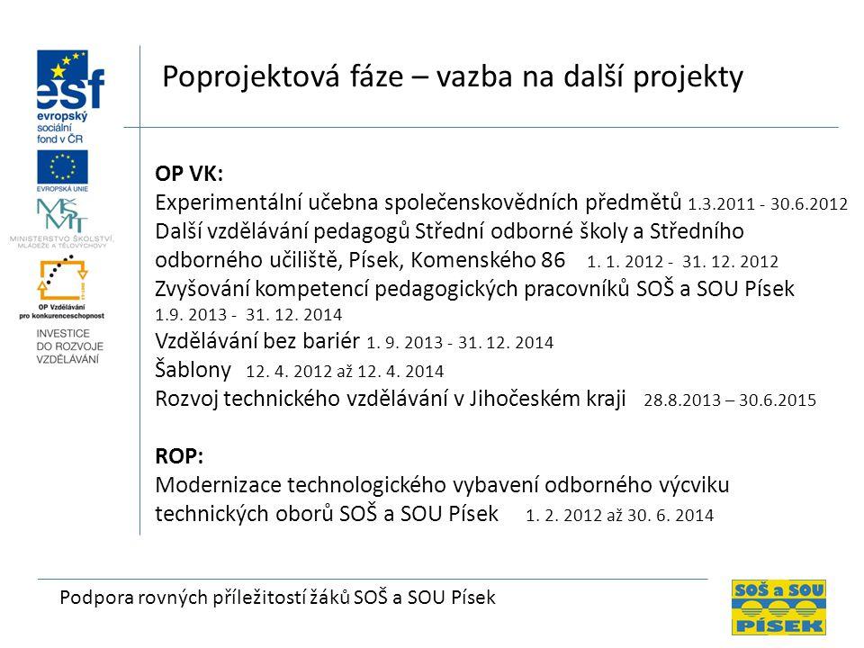 Podpora rovných příležitostí žáků SOŠ a SOU Písek Poprojektová fáze – vazba na další projekty OP VK: Experimentální učebna společenskovědních předmětů