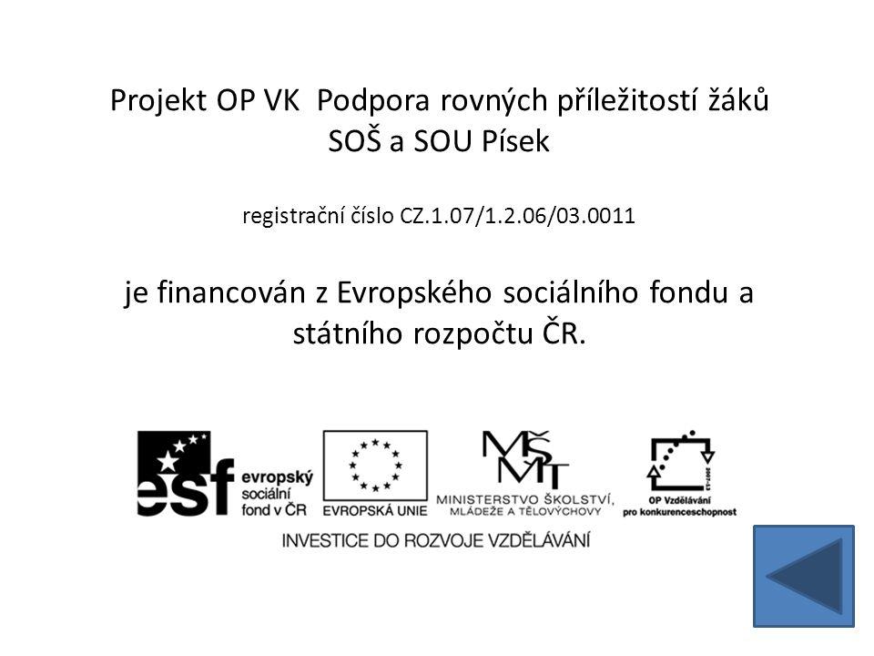 Projekt OP VK Podpora rovných příležitostí žáků SOŠ a SOU Písek registrační číslo CZ.1.07/1.2.06/03.0011 je financován z Evropského sociálního fondu a