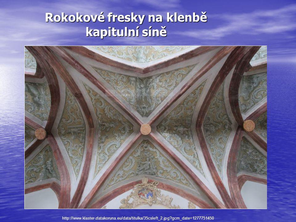 Rokokové fresky na klenbě kapitulní síně http://www.klaster-zlatakoruna.eu/data/titulka/35csleft_2.jpg gcm_date=1277751450
