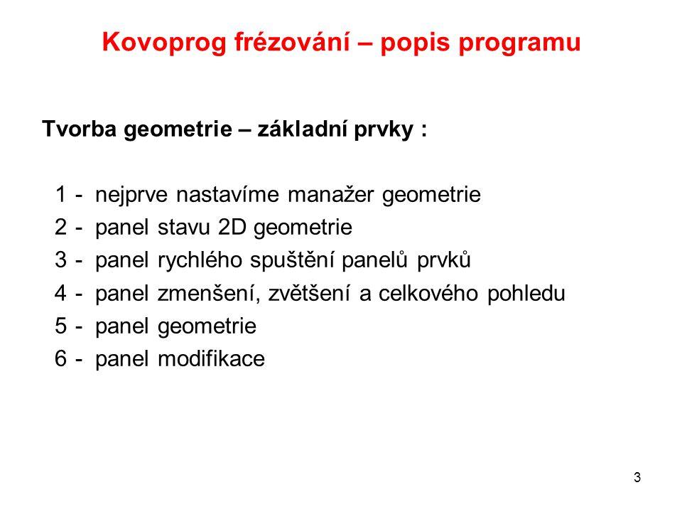 Kovoprog frézování – popis programu Tvorba geometrie – základní prvky : 1- nejprve nastavíme manažer geometrie 2- panel stavu 2D geometrie 3- panel ry