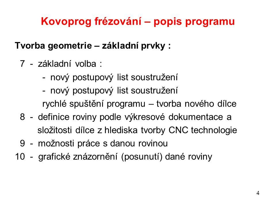 Kovoprog – popis programu 15 Modifikace (opravy) již vytvořených geometrických a technologických prvků : Zaoblení (sražení) hran a rozdělení kontury