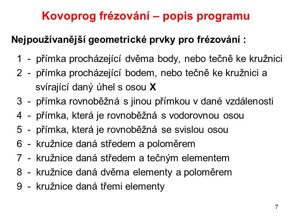 Kovoprog frézování – popis programu Nejpoužívanější geometrické prvky pro frézování : 1 - přímka procházející dvěma body, nebo tečně ke kružnici 2 - p