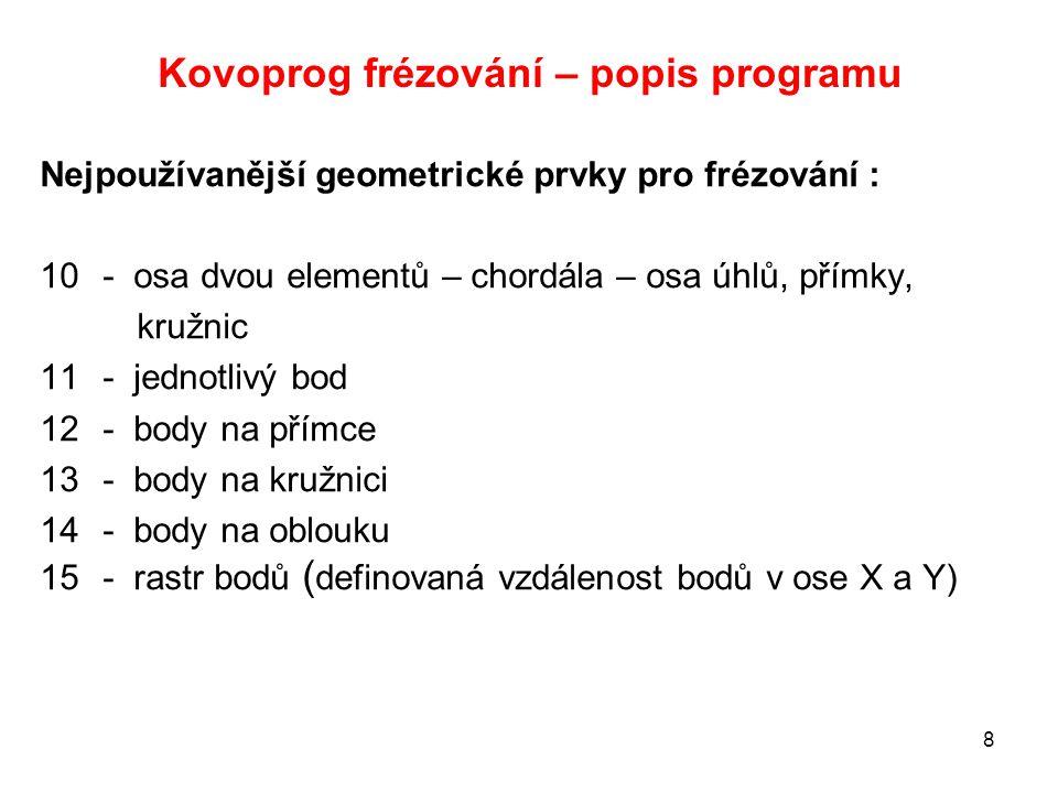 Kovoprog frézování – popis programu Nejpoužívanější geometrické prvky pro frézování : 10- osa dvou elementů – chordála – osa úhlů, přímky, kružnic 11-