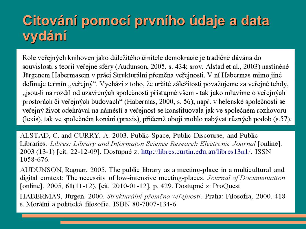 Citování pomocí prvního údaje a data vydání