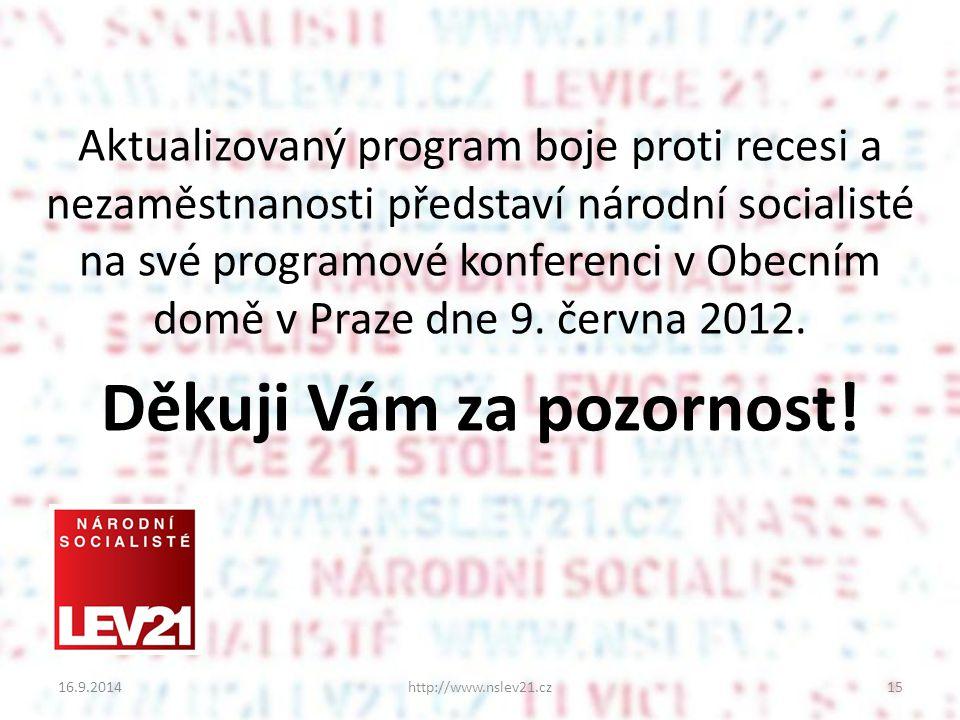 Aktualizovaný program boje proti recesi a nezaměstnanosti představí národní socialisté na své programové konferenci v Obecním domě v Praze dne 9.