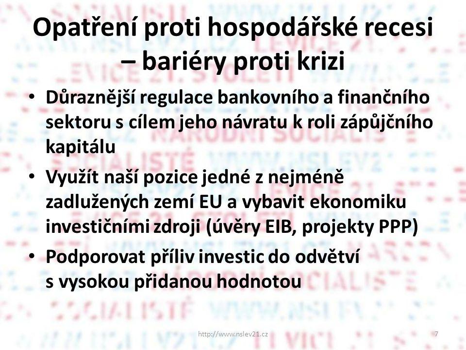 Opatření proti hospodářské recesi – bariéry proti krizi Důraznější regulace bankovního a finančního sektoru s cílem jeho návratu k roli zápůjčního kapitálu Využít naší pozice jedné z nejméně zadlužených zemí EU a vybavit ekonomiku investičními zdroji (úvěry EIB, projekty PPP) Podporovat příliv investic do odvětví s vysokou přidanou hodnotou http://www.nslev21.cz7