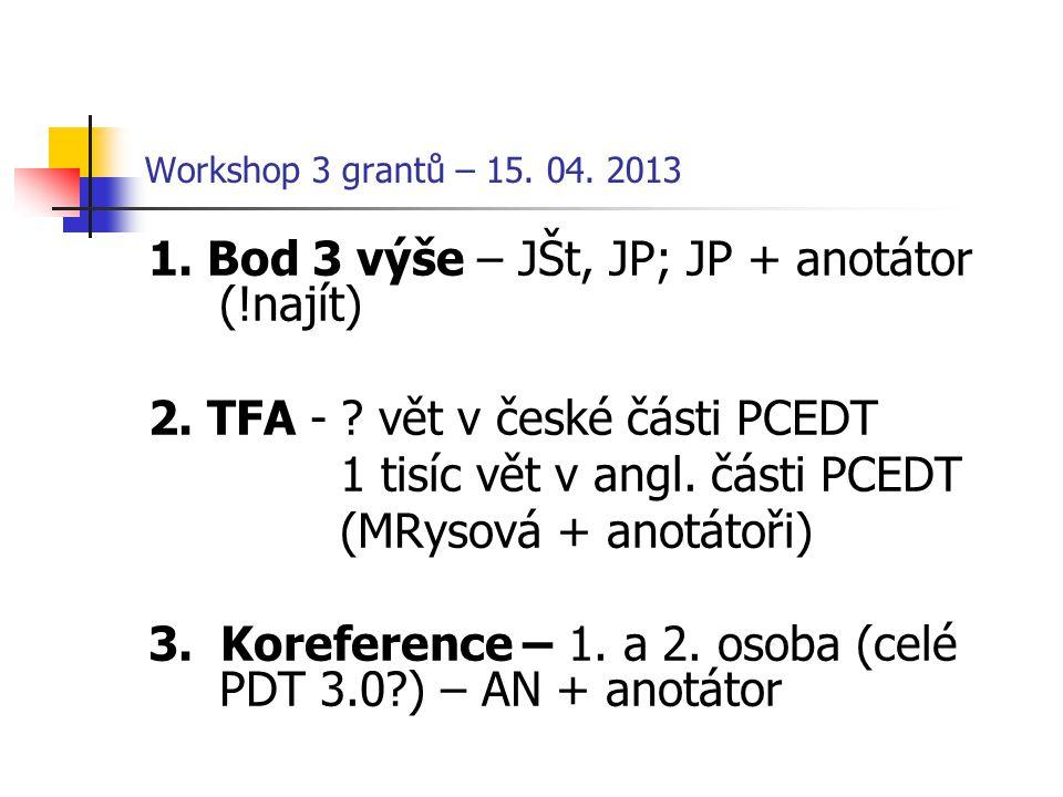 Workshop 3 grantů – 15. 04. 2013 1. Bod 3 výše – JŠt, JP; JP + anotátor (!najít) 2. TFA - ? vět v české části PCEDT 1 tisíc vět v angl. části PCEDT (M