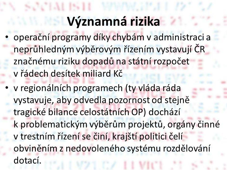 Významná rizika operační programy díky chybám v administraci a neprůhledným výběrovým řízením vystavují ČR značnému riziku dopadů na státní rozpočet v