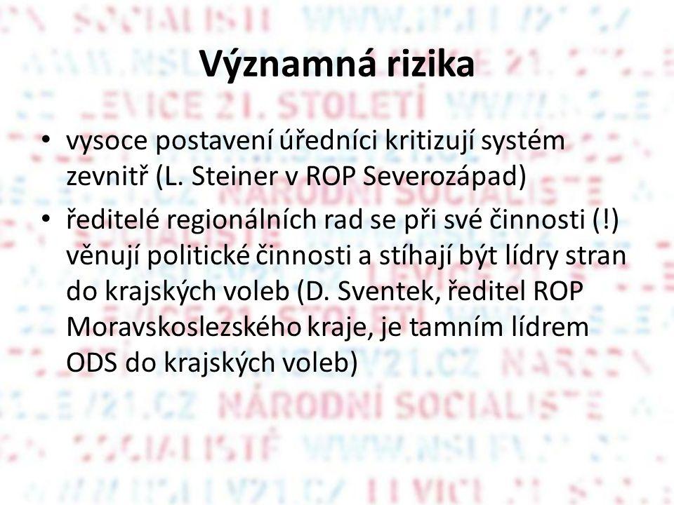 Významná rizika vysoce postavení úředníci kritizují systém zevnitř (L. Steiner v ROP Severozápad) ředitelé regionálních rad se při své činnosti (!) vě