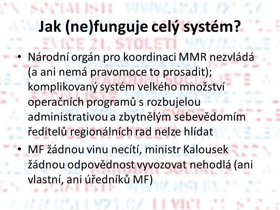 Jak (ne)funguje celý systém? Národní orgán pro koordinaci MMR nezvládá (a ani nemá pravomoce to prosadit); komplikovaný systém velkého množství operač