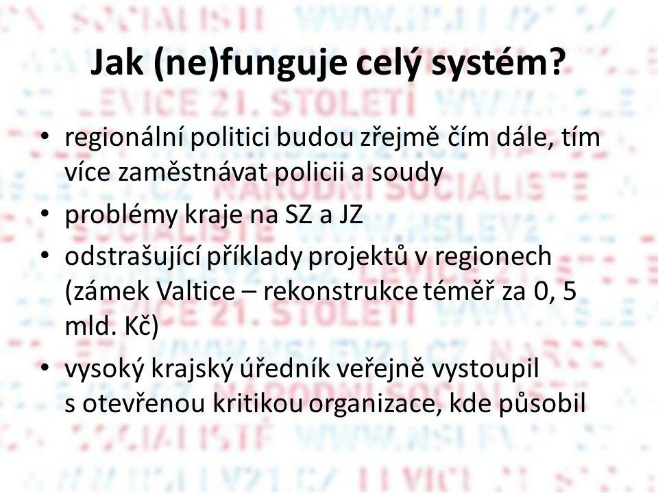 Jak (ne)funguje celý systém? regionální politici budou zřejmě čím dále, tím více zaměstnávat policii a soudy problémy kraje na SZ a JZ odstrašující př