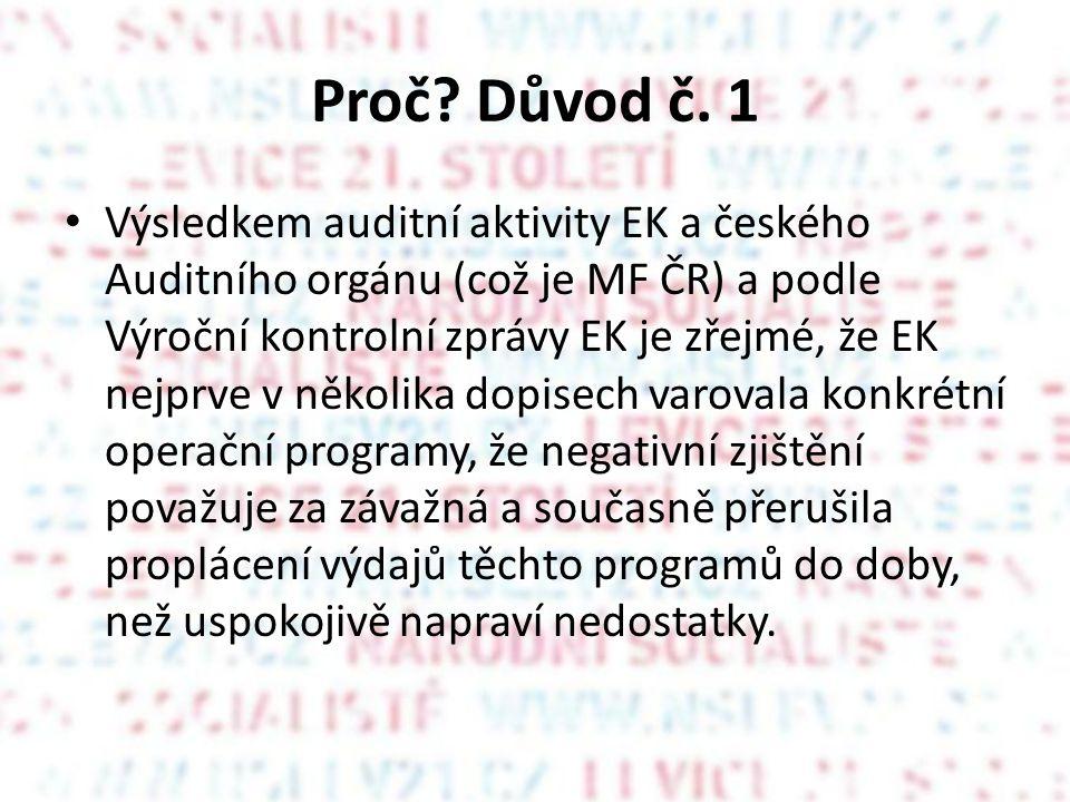Proč? Důvod č. 1 Výsledkem auditní aktivity EK a českého Auditního orgánu (což je MF ČR) a podle Výroční kontrolní zprávy EK je zřejmé, že EK nejprve
