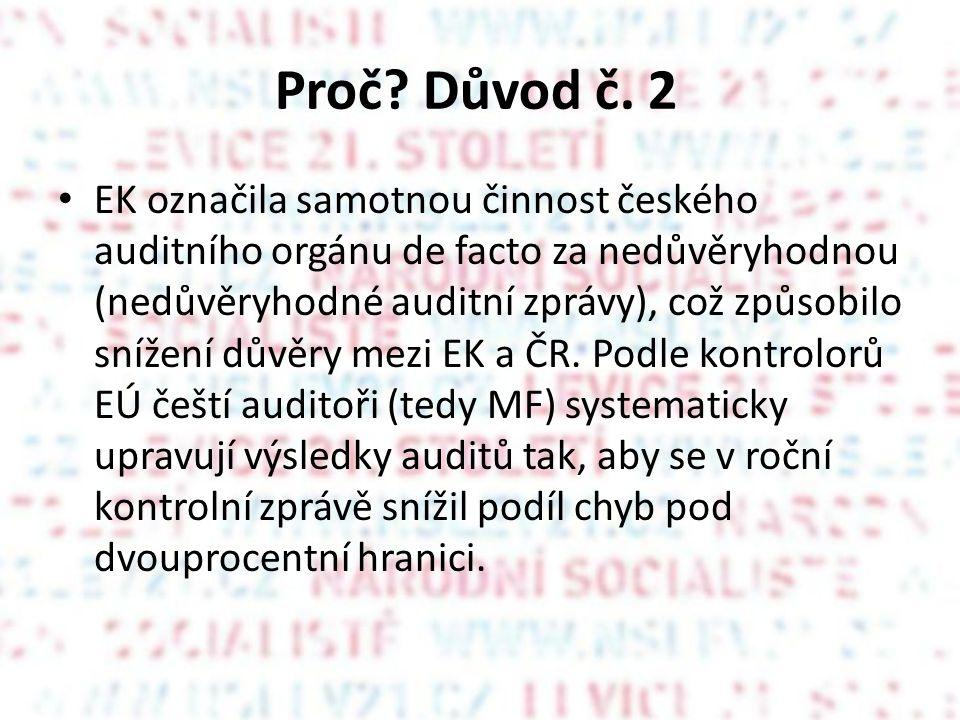 Proč? Důvod č. 2 EK označila samotnou činnost českého auditního orgánu de facto za nedůvěryhodnou (nedůvěryhodné auditní zprávy), což způsobilo snížen