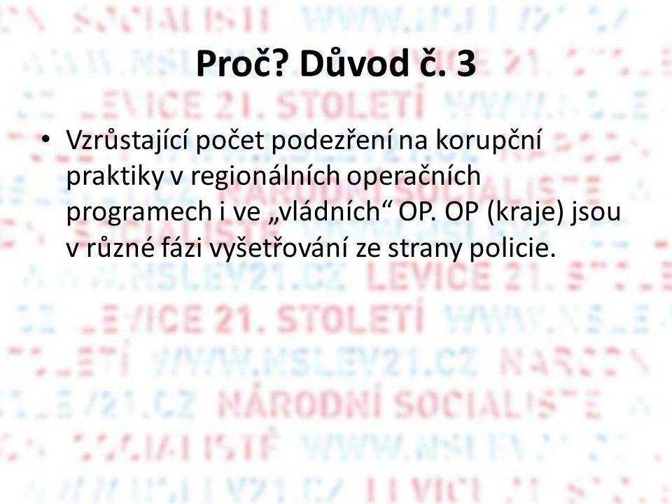 """Proč? Důvod č. 3 Vzrůstající počet podezření na korupční praktiky v regionálních operačních programech i ve """"vládních"""" OP. OP (kraje) jsou v různé fáz"""