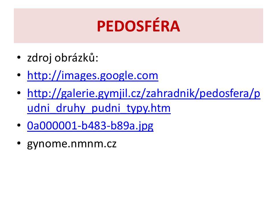 PEDOSFÉRA zdroj obrázků: http://images.google.com http://galerie.gymjil.cz/zahradnik/pedosfera/p udni_druhy_pudni_typy.htm http://galerie.gymjil.cz/zahradnik/pedosfera/p udni_druhy_pudni_typy.htm 0a000001 ‑ b483 ‑ b89a.jpg 0a000001 ‑ b483 ‑ b89a.jpg gynome.nmnm.cz