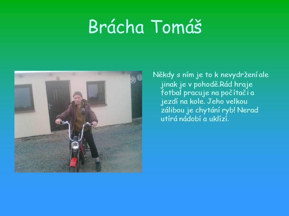 Brácha Tomáš Někdy s ním je to k nevydržení ale jinak je v pohodě.Rád hraje fotbal pracuje na počítači a jezdí na kole.