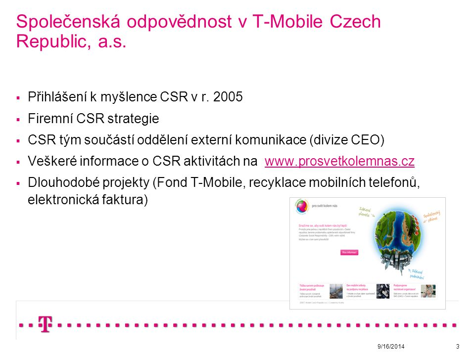 Společenská odpovědnost v T-Mobile Czech Republic, a.s.