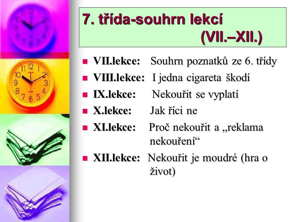 7. třída-souhrn lekcí (VII.–XII.) VII.lekce: Souhrn poznatků ze 6. třídy VII.lekce: Souhrn poznatků ze 6. třídy VIII.lekce: I jedna cigareta škodí VII