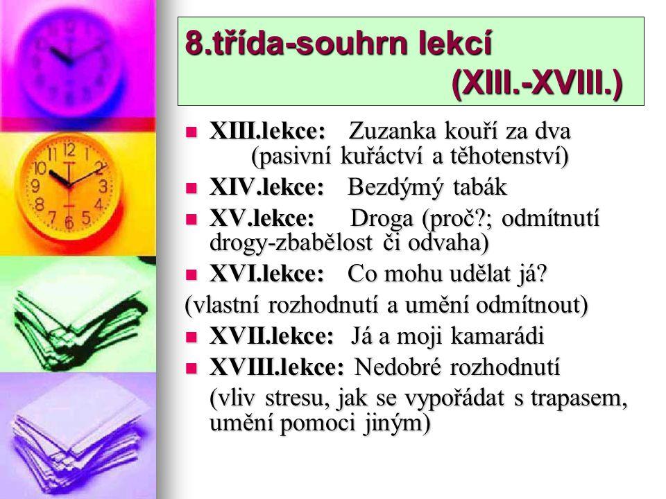 8.třída-souhrn lekcí (XIII.-XVIII.) XIII.lekce: Zuzanka kouří za dva (pasivní kuřáctví a těhotenství) XIII.lekce: Zuzanka kouří za dva (pasivní kuřáct