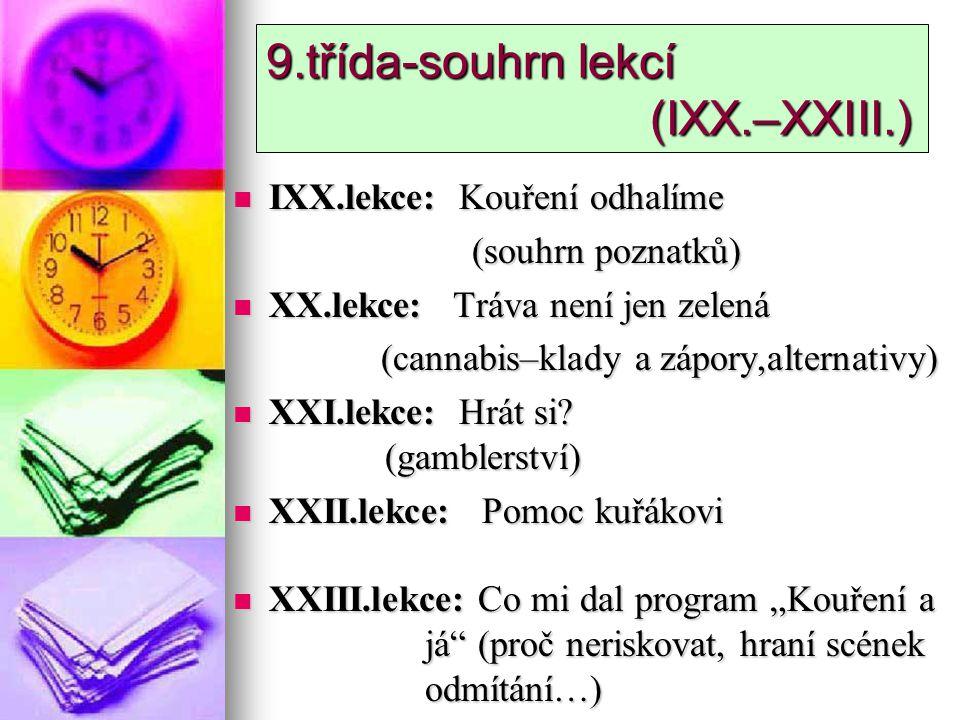 9.třída-souhrn lekcí (IXX.–XXIII.) IXX.lekce: Kouření odhalíme IXX.lekce: Kouření odhalíme (souhrn poznatků) (souhrn poznatků) XX.lekce: Tráva není je