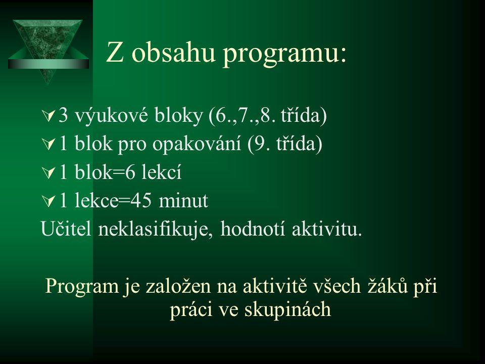 Z obsahu programu:  3 výukové bloky (6.,7.,8. třída)  1 blok pro opakování (9. třída)  1 blok=6 lekcí  1 lekce=45 minut Učitel neklasifikuje, hodn