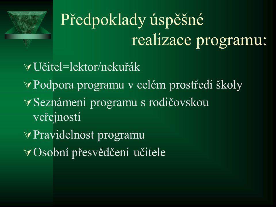 Předpoklady úspěšné realizace programu:  Učitel=lektor/nekuřák  Podpora programu v celém prostředí školy  Seznámení programu s rodičovskou veřejnos