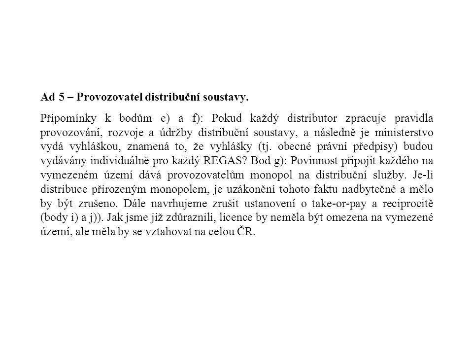 Hlava II - Plynárenství Ad 2 – Účastníci trhu.