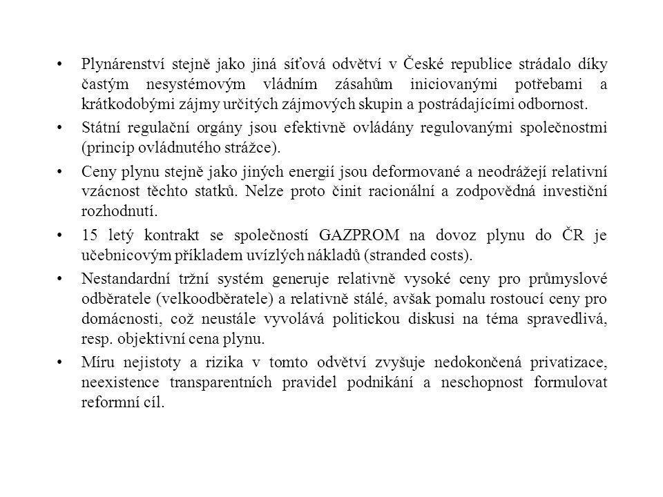 II. Kritická charakteristika českého plynárenství Stát hraje v českém plynárenství daleko významnější roli než se všeobecně očekávalo před pěti lety (