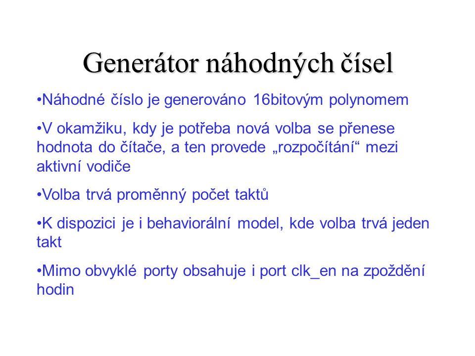 Top level návrh fire[1:5] clk_en save_LED set =0 slow ready[1:5] test_pn selector LED_decoder LED_ctrl[6:0] slow – zpomalující čítač selector – random generator LED-decoder – výstup na LED test_pn - vlastní síť