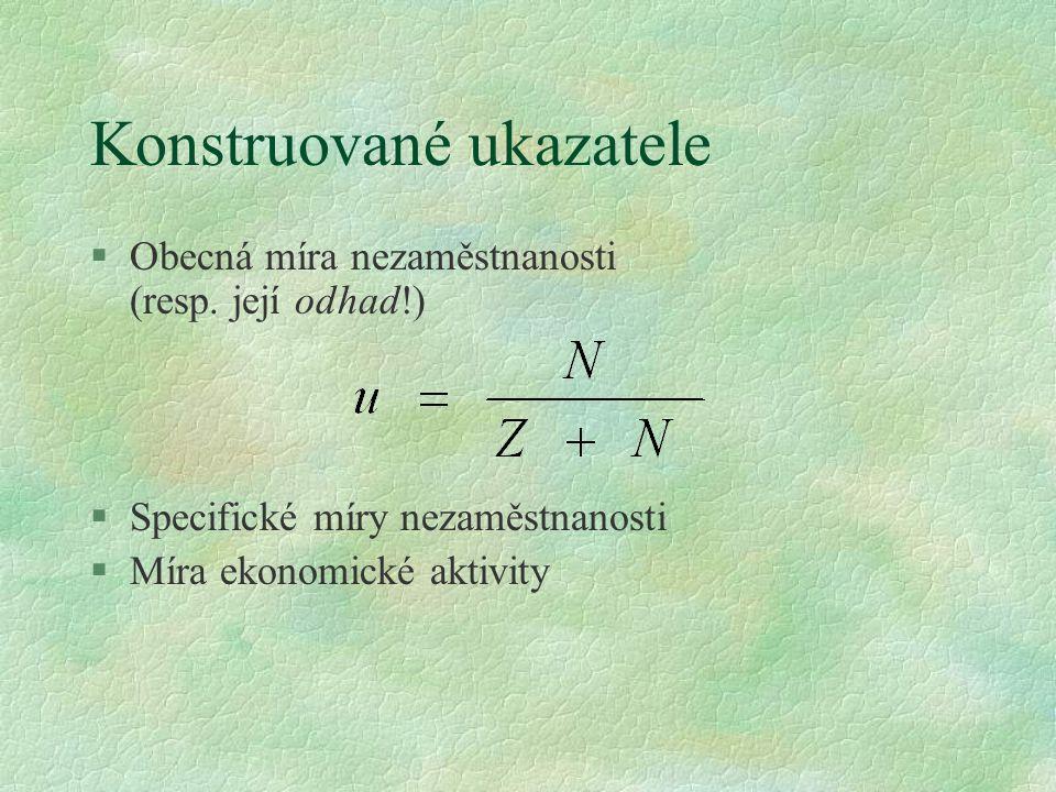Konstruované ukazatele §Obecná míra nezaměstnanosti (resp. její odhad!) §Specifické míry nezaměstnanosti §Míra ekonomické aktivity