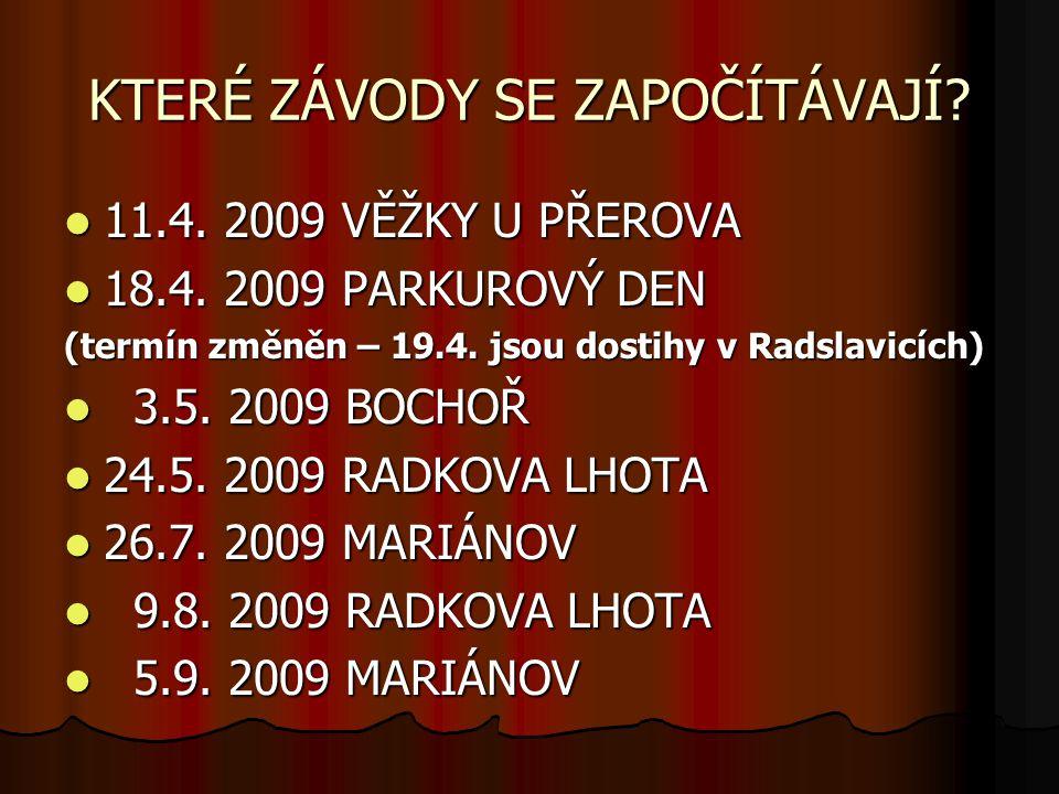 KTERÉ ZÁVODY SE ZAPOČÍTÁVAJÍ. 11.4. 2009 VĚŽKY U PŘEROVA 11.4.