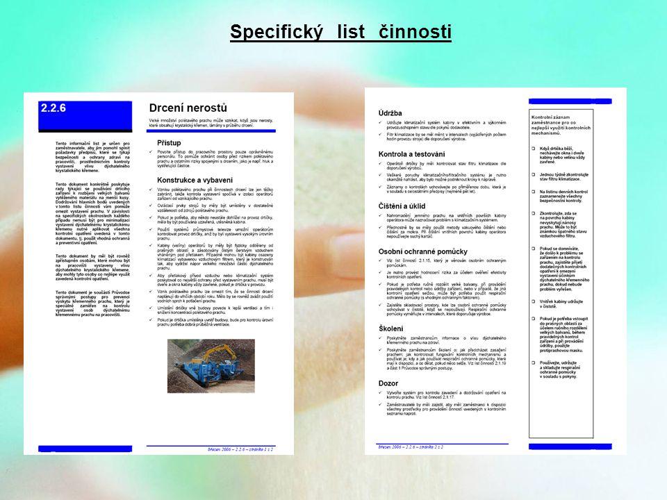 Specifický list činnosti