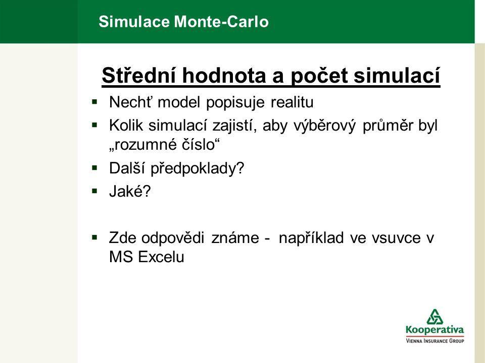 """Simulace Monte-Carlo Střední hodnota a počet simulací  Nechť model popisuje realitu  Kolik simulací zajistí, aby výběrový průměr byl """"rozumné číslo  Další předpoklady."""