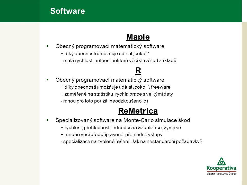 """Software Maple  Obecný programovací matematický software + díky obecnosti umožňuje udělat """"cokoli - malá rychlost, nutnost některé věci stavět od základů R  Obecný programovací matematický software + díky obecnosti umožňuje udělat """"cokoli , freeware + zaměřené na statistiku, rychlá práce s velkými daty - mnou pro toto použití neodzkoušeno :o) ReMetrica  Specializovaný software na Monte-Carlo simulace škod + rychlost, přehlednost, jednoduchá vizualizace, vyvíjí se + mnohé věci předpřipravené, přehledné vstupy - specializace na zvolené řešení, Jak na nestandardní požadavky"""