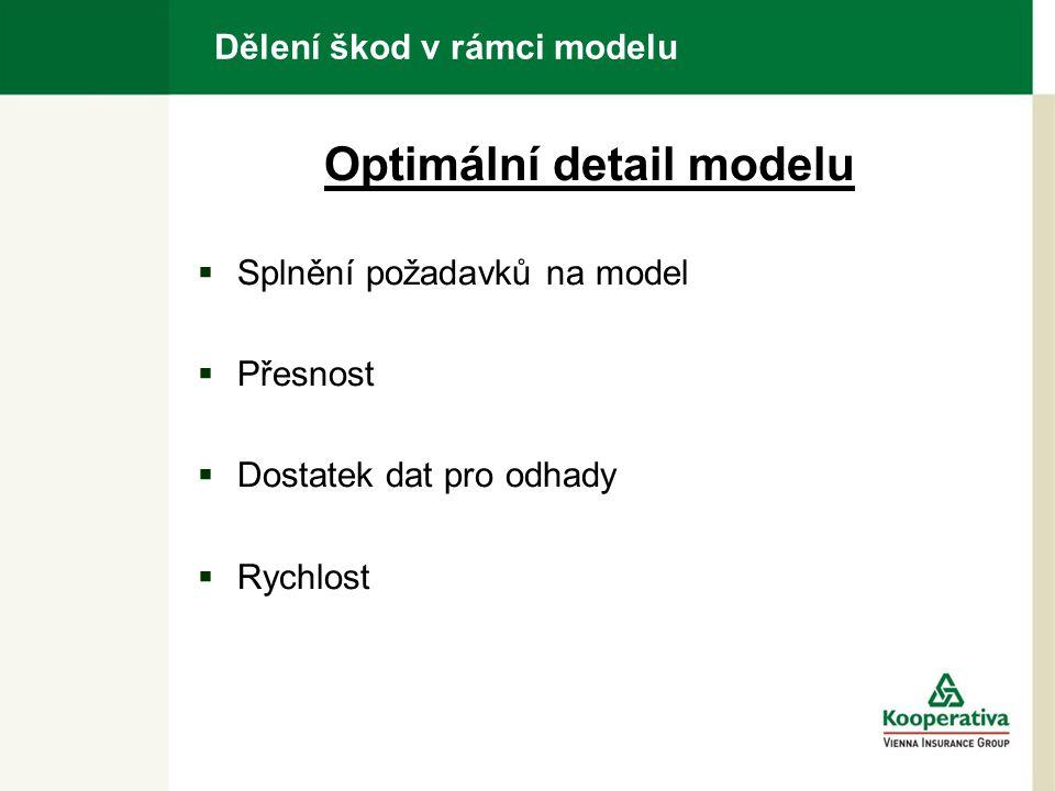 Dělení škod v rámci modelu Optimální detail modelu  Splnění požadavků na model  Přesnost  Dostatek dat pro odhady  Rychlost