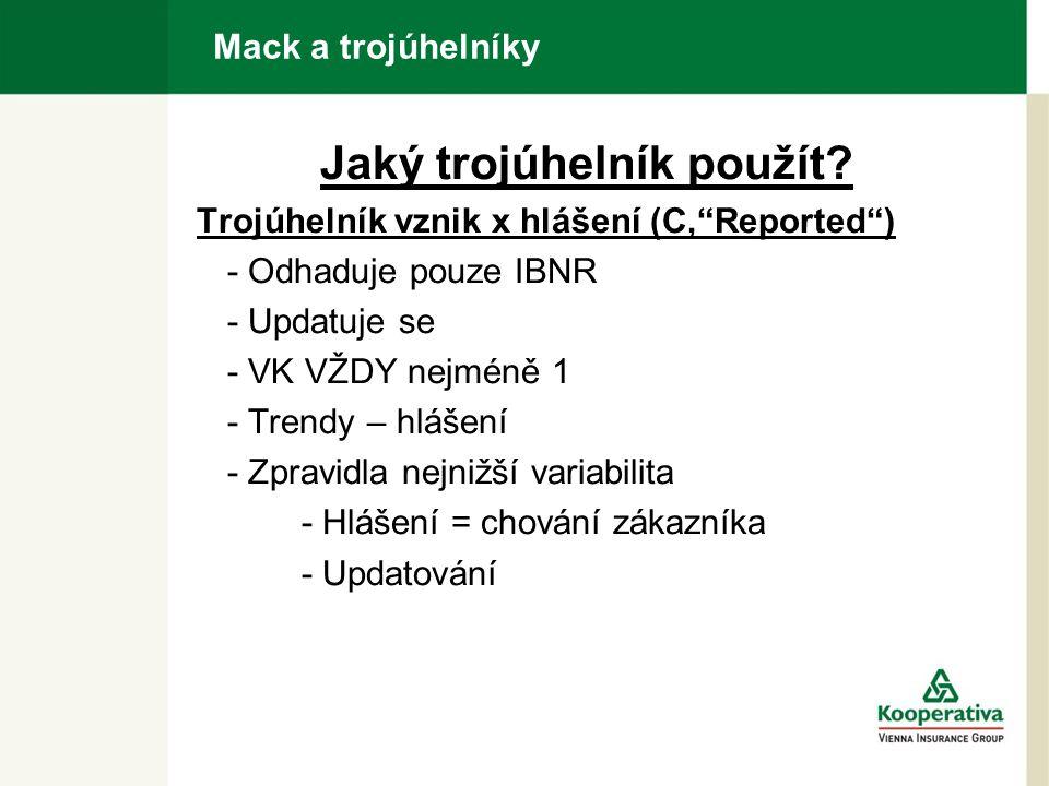 """Mack a trojúhelníky Jaký trojúhelník použít? Trojúhelník vznik x hlášení (C,""""Reported"""") - Odhaduje pouze IBNR - Updatuje se - VK VŽDY nejméně 1 - Tren"""