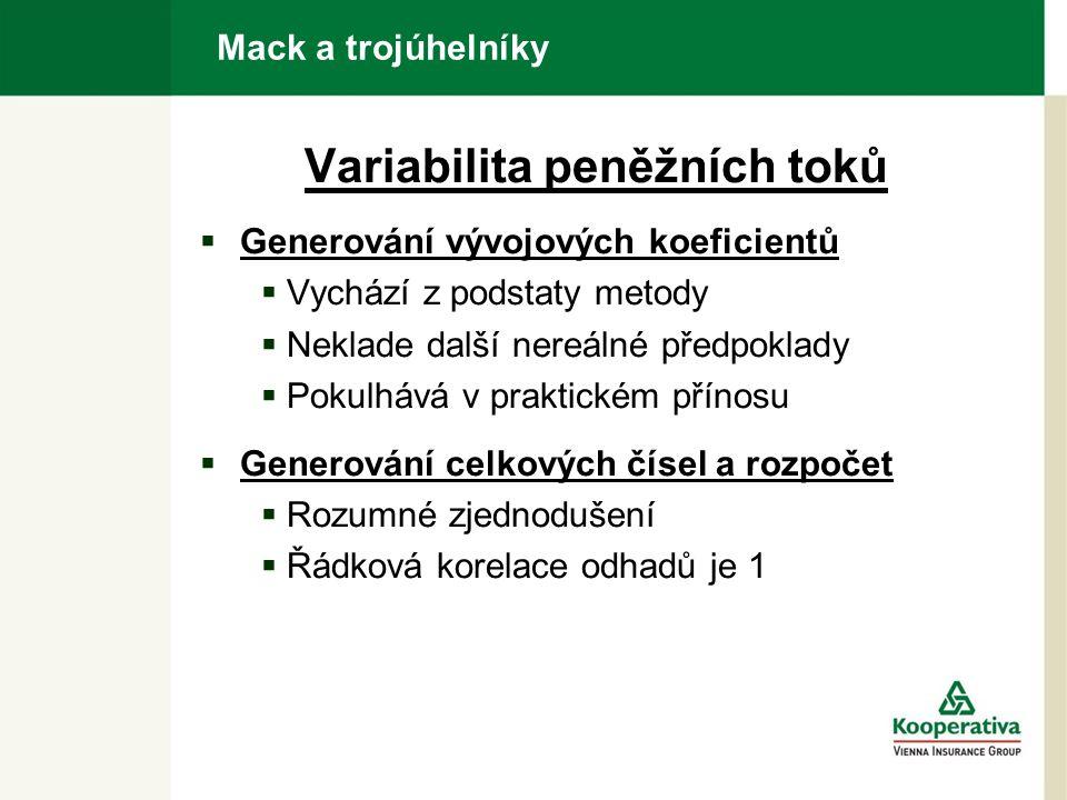 Mack a trojúhelníky Variabilita peněžních toků  Generování vývojových koeficientů  Vychází z podstaty metody  Neklade další nereálné předpoklady  Pokulhává v praktickém přínosu  Generování celkových čísel a rozpočet  Rozumné zjednodušení  Řádková korelace odhadů je 1