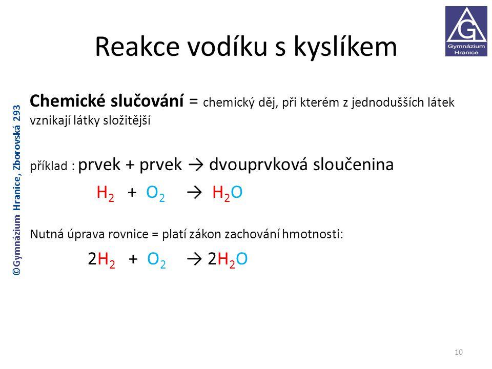 Reakce vodíku s kyslíkem Chemické slučování = chemický děj, při kterém z jednodušších látek vznikají látky složitější příklad : prvek + prvek → dvouprvková sloučenina H 2 + O 2 → H 2 O Nutná úprava rovnice = platí zákon zachování hmotnosti: 2H 2 + O 2 → 2H 2 O 10 ©Gymnázium Hranice, Zborovská 293