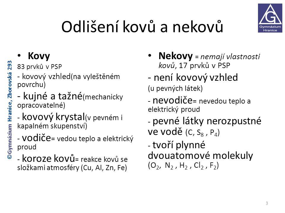 Odlišení kovů a nekovů Kovy 83 prvků v PSP - kovový vzhled (na vyleštěném povrchu) - kujné a tažné (mechanicky opracovatelné) - kovový krystal (v pevném i kapalném skupenství) - vodiče = vedou teplo a elektrický proud - koroze kovů = reakce kovů se složkami atmosféry (Cu, Al, Zn, Fe) Nekovy = nemají vlastnosti kovů, 17 prvků v PSP - není kovový vzhled (u pevných látek) - nevodiče = nevedou teplo a elektrický proud - pevné látky nerozpustné ve vodě (C, S 8, P 4 ) - tvoří plynné dvouatomové molekuly (O 2, N 2, H 2, Cl 2, F 2 ) 3 ©Gymnázium Hranice, Zborovská 293