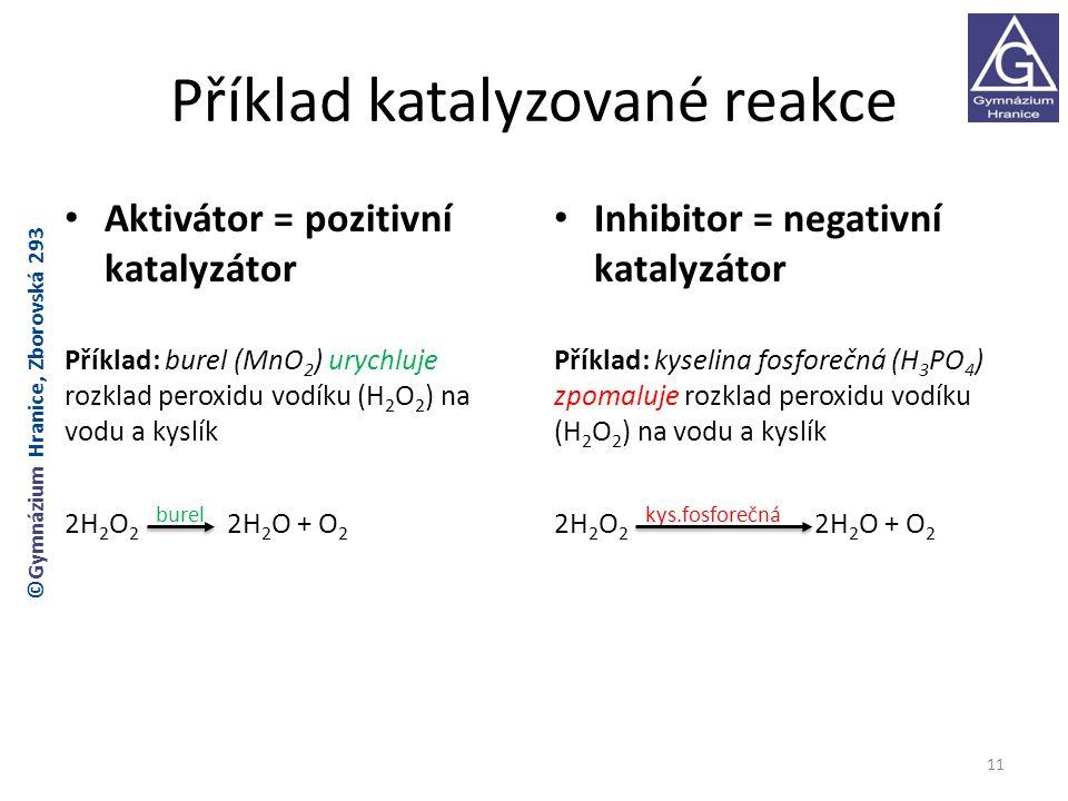 Příklad katalyzované reakce Aktivátor = pozitivní katalyzátor Příklad: burel (MnO 2 ) urychluje rozklad peroxidu vodíku (H 2 O 2 ) na vodu a kyslík 2H