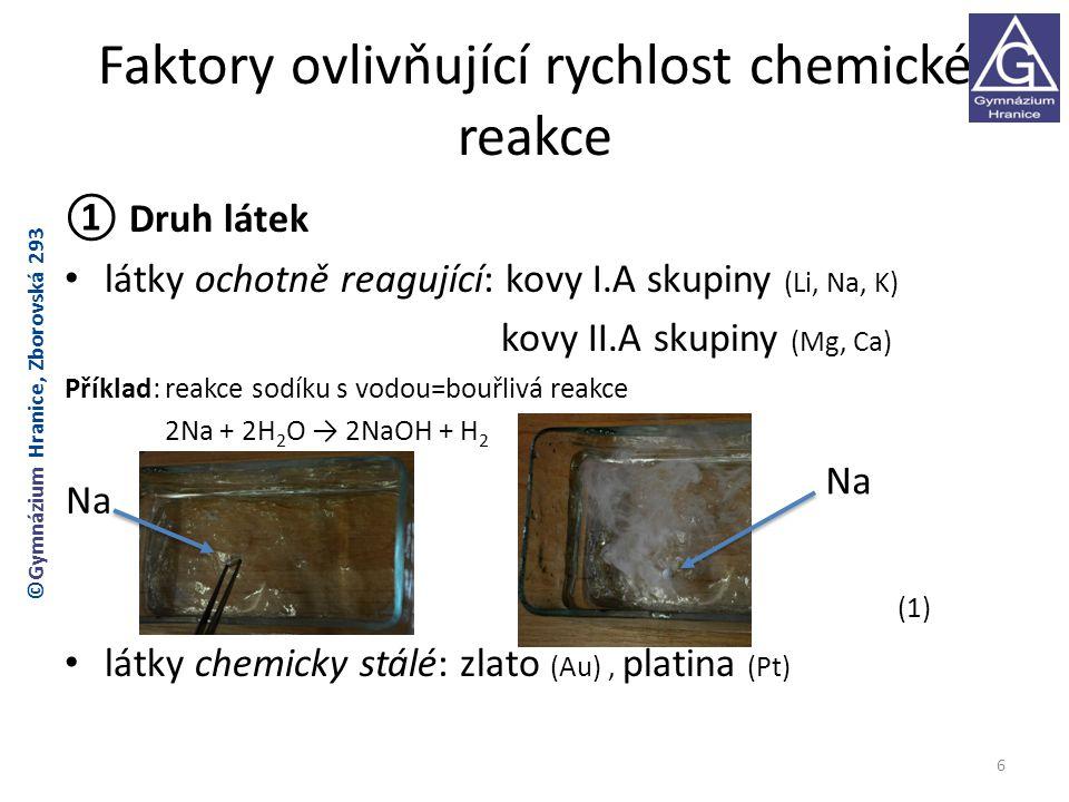 Faktory ovlivňující rychlost chemické reakce ① Druh látek látky ochotně reagující: kovy I.A skupiny (Li, Na, K) kovy II.A skupiny (Mg, Ca) Příklad: re