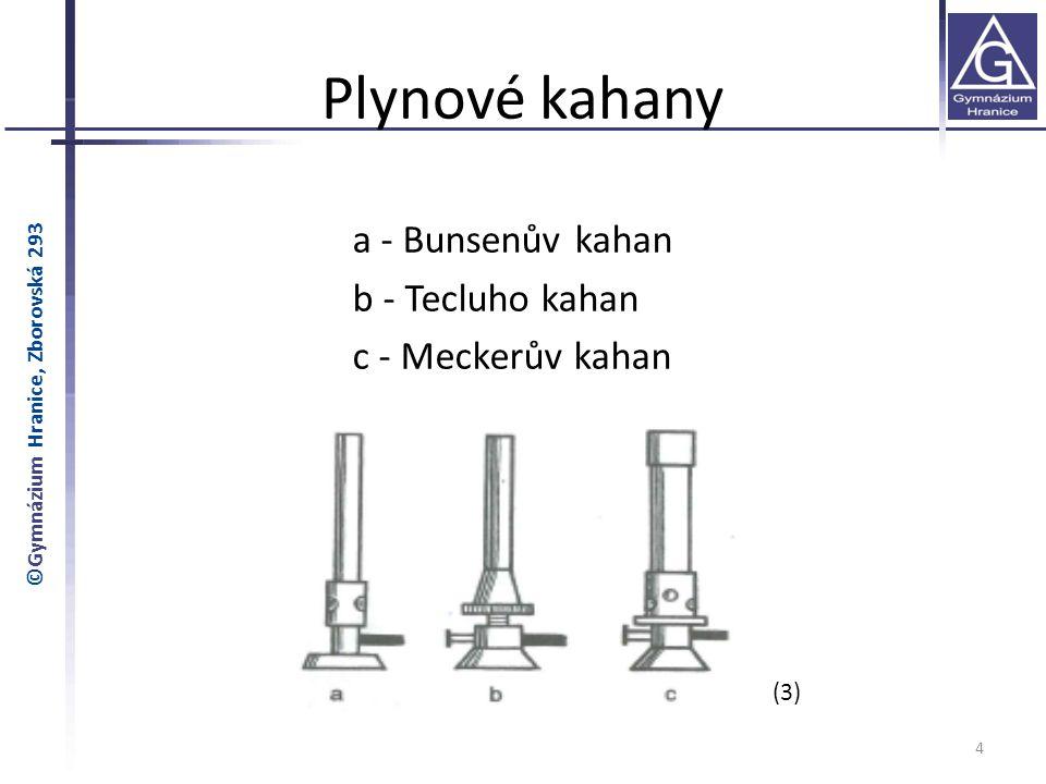 Plynové kahany a - Bunsenův kahan b - Tecluho kahan c - Meckerův kahan 4 ©Gymnázium Hranice, Zborovská 293 (3)