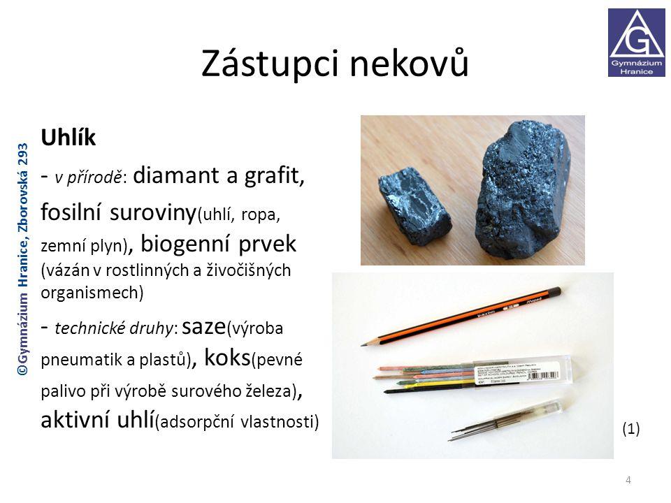 Zástupci nekovů Uhlík - v přírodě: diamant a grafit, fosilní suroviny (uhlí, ropa, zemní plyn), biogenní prvek (vázán v rostlinných a živočišných orga