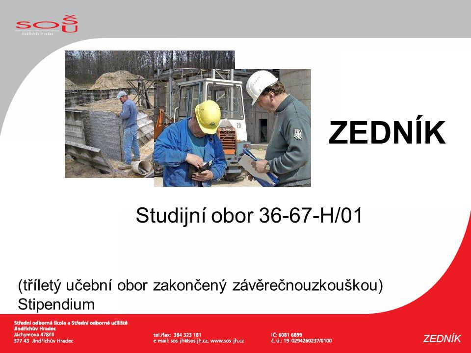 Studijní obor 36-67-H/01 (tříletý učební obor zakončený závěrečnouzkouškou) Stipendium ZEDNÍK